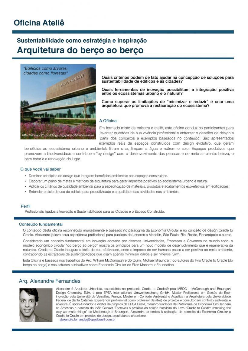 """Curso """"Sustentabilidade como estratégia e inspiração – Arquitetura do berço ao berço"""""""