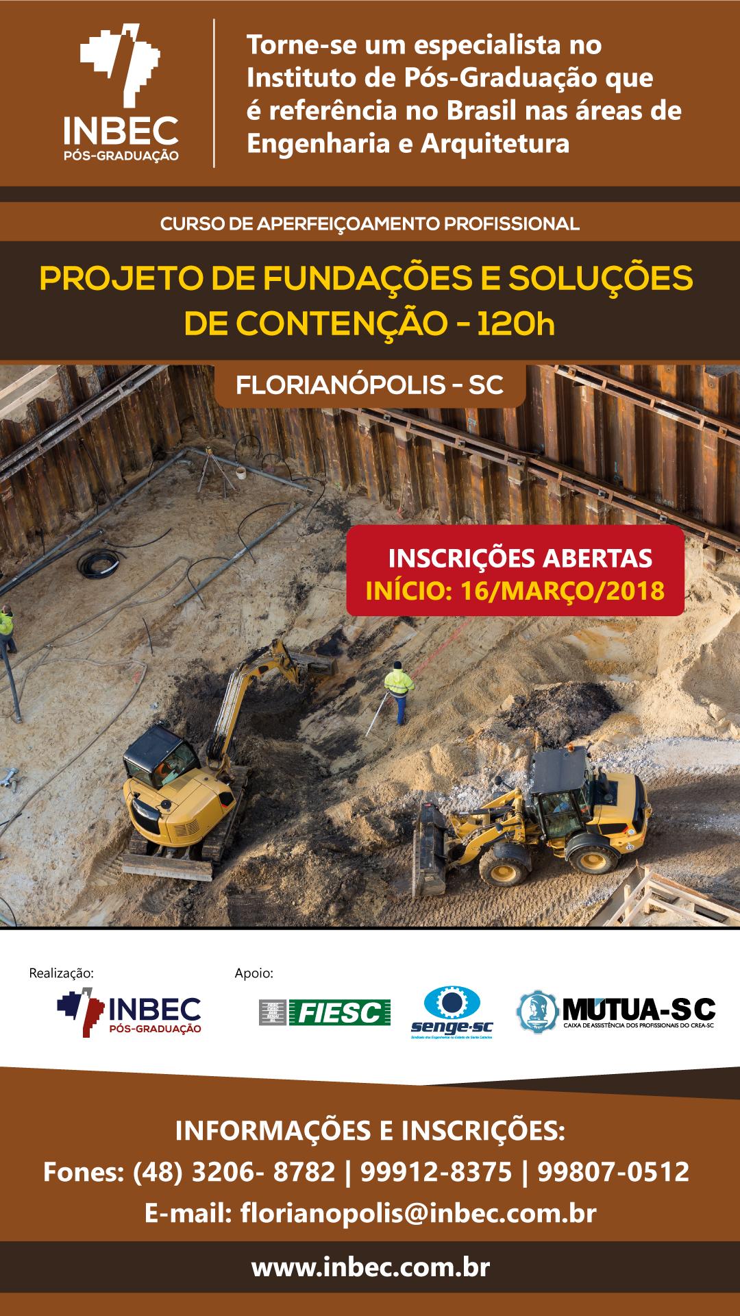 CURSO DE PROJETO DE FUNDAÇÕES E SOLUÇÕES DE CONTENÇÃO - 120h