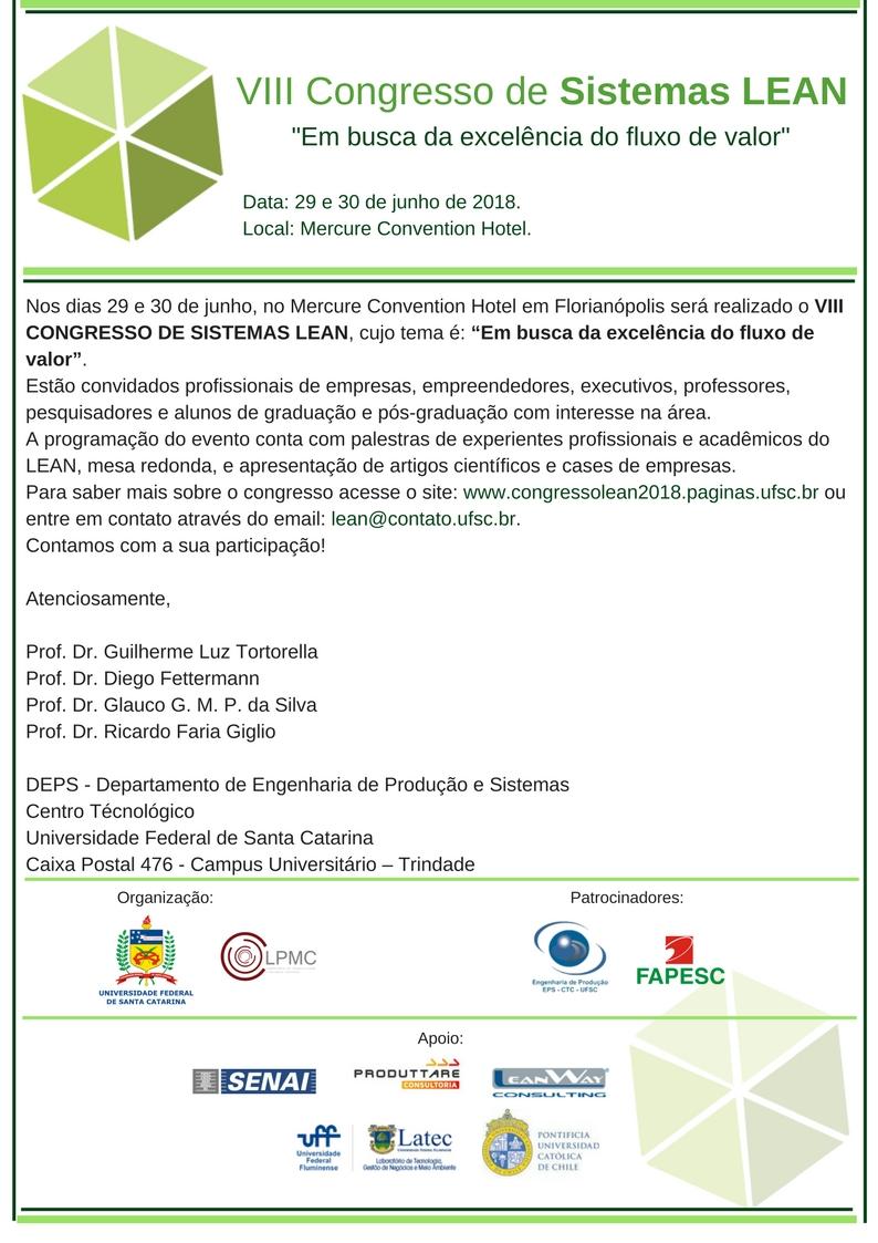 VIII Congresso de Sistemas Lean