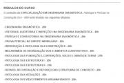 ESPECIALIZAÇÃO EM ENGENHARIA DIAGNÓSTICA: Patologia e Perícias na Construção Civil - 400h