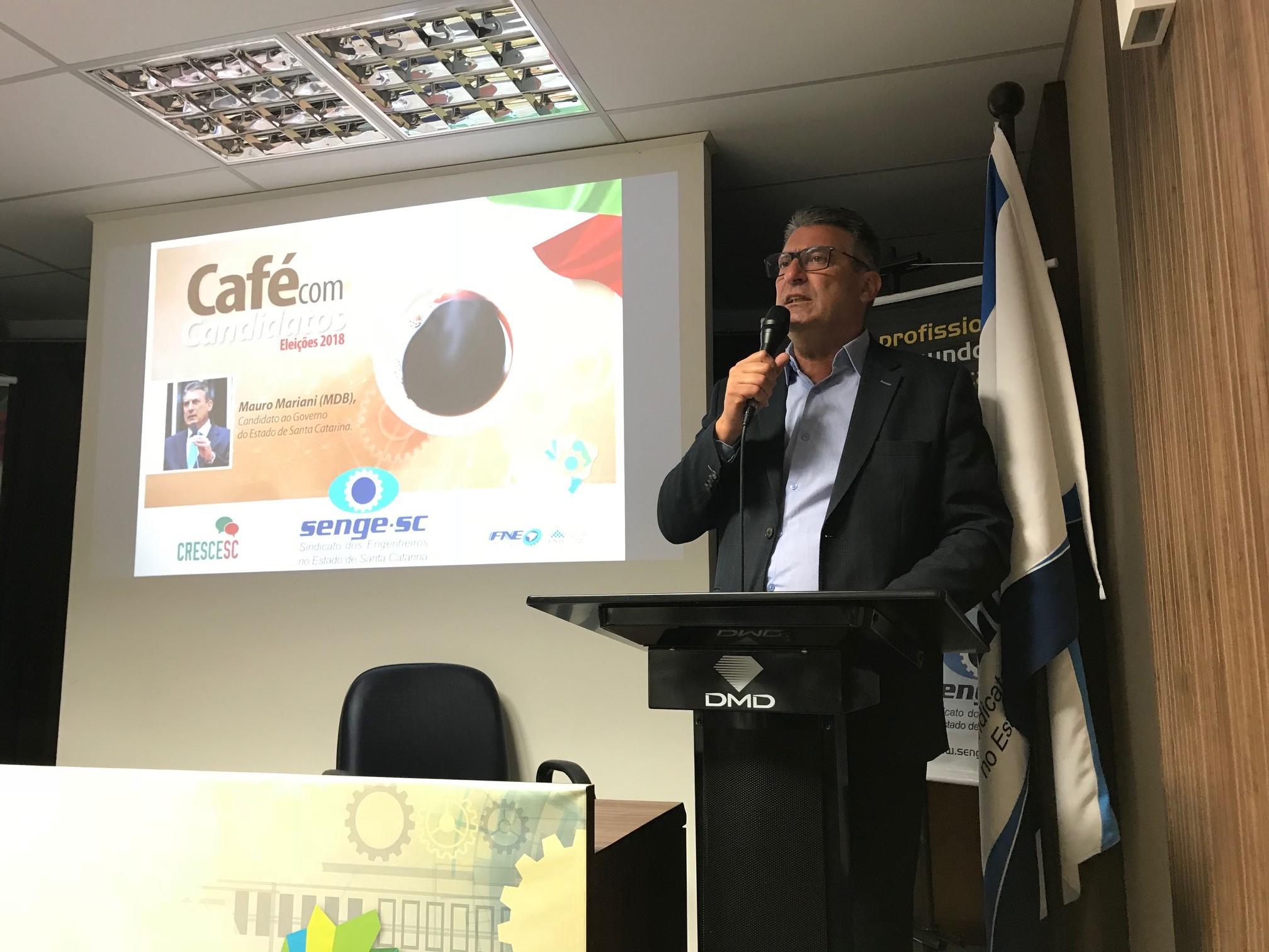 Mauro Mariani, candidato ao governo do Estado, vai aoSenge-SC e afirma a importância do papel do engenheiro