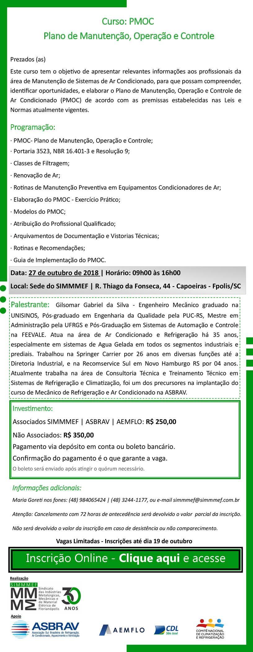 Curso: PMOC Plano de manutenção, Operação e Controle