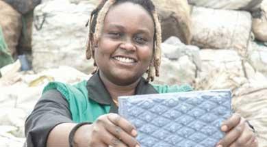 Engenheira queniana desenvolve tijolo feito de plástico reciclado